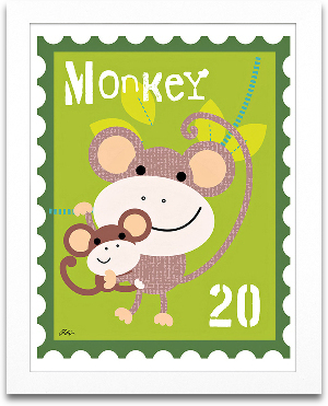 Monkey Animal Stamp 8x10 preview