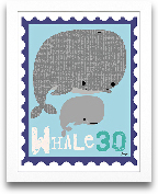 Whale Animal Stamp 8x10
