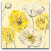 Gold And White Conte...<span>Gold And White Contemporary Poppies II - 18x18</span>