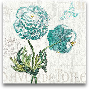 Floral Messages On W...<span>Floral Messages On Wood I Blue - 18x18</span>