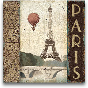 City Skyline Paris V...<span>City Skyline Paris Vintage Square - 18x18</span>