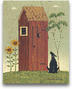Outhouse With Dog 8x10