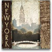 City Skyline New Yor...<span>City Skyline New York Vintage Square - 18x18</span>