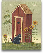 Outhouse With Cat 8x10