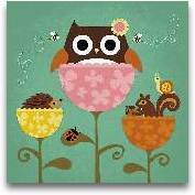 Owl, Squirrel And He...<span>Owl, Squirrel And Hedgehog In Flowers</span>