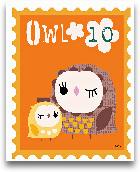 Animal Stamps - Owl 8x10