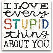 I Love Every Stupid ...<span>I Love Every Stupid Thing About You - 12x12</span>