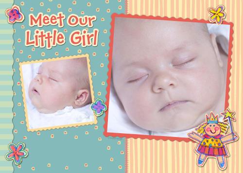 5x7 Card: Meet Our Little Girl