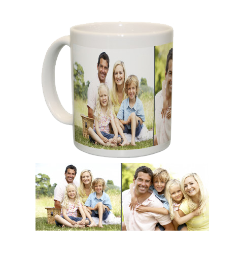 Ceramic Mug/White with Two Photo Collage (Grey)