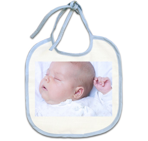 Blue Trim Baby Bib
