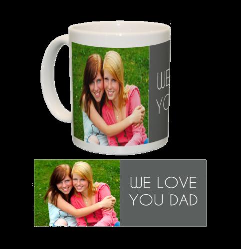 Ceramic Mug/White One Photo Collage (Grey)