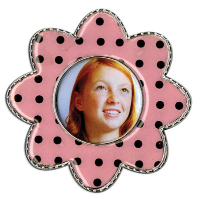 Black Polka Dot Flower Epoxy Magnet