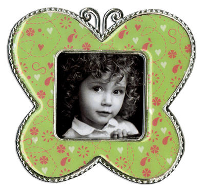 Green Floral Butterfly Epoxy Magnet