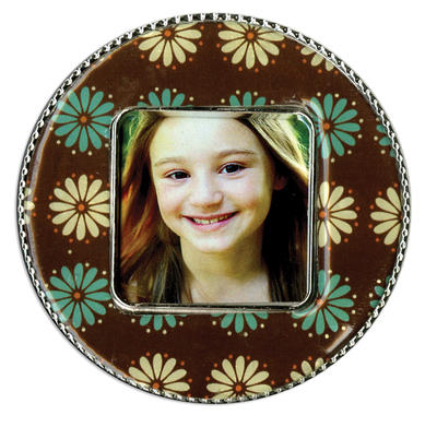 Brown Flower Circle Epoxy Magnet