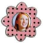 Epoxy Magnet - Black Polka Dot Flower